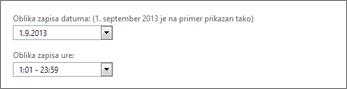 Nastavitve oblike zapisa za datum in čas v programu Outlook Web App