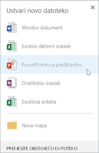 Ustvarite novo PowerPointovo predstavitev