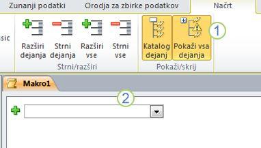 Zavihek »Načrt makra« v programu Access 2010«.
