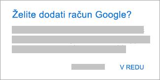 Tapnite »V redu«, da omogočite Outlooku dostop do računov.