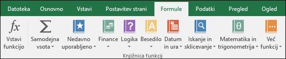 Zavihek Excelovih formul na traku