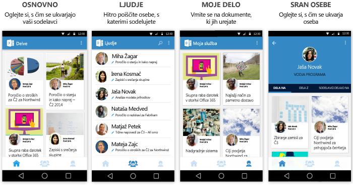 Zasloni storitve Delve for Android
