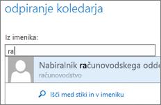 Outlook Web App – pogovorno okno »Odpri koledar«