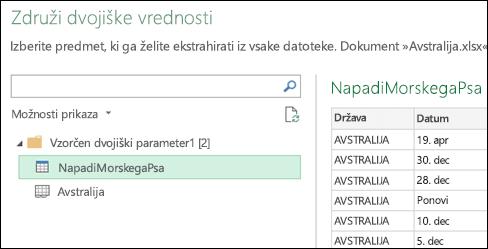 Pogovorno okno »Združevanje dvojiških vrednosti« z razpoložljivimi Excelovimi delovnimi listi, med katerimi izberete primarni cilj usklajevanja
