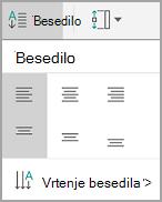 Poravnava besedila v tabelo s sistemom Android