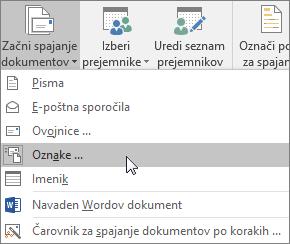 Kliknite »Začni spajanje dokumentov« in izberite »Nalepke«, da ustvarite list z nalepkami za spajanje.