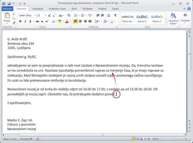 Dokument programa Word 2010