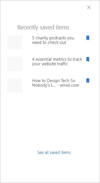 panel za hitri dostop do nedavno shranjenih elementov
