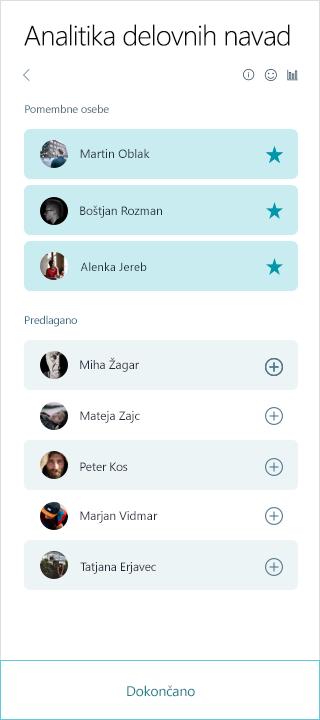 Posnetek zaslona seznama oseb MyAnalytics pomembno