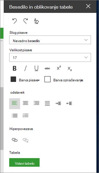Odprite besedilo in oblikovanje strani tabele