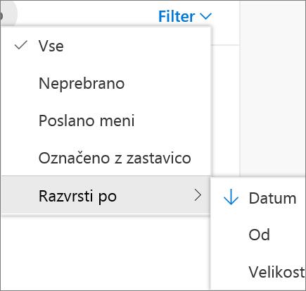 Posnetek zaslona prikaže Razvrsti po možnost izbran kontrolnik za Filter za e-poštna sporočila.