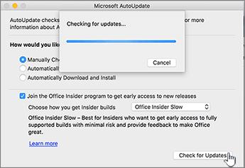 Iskanje posodobitev na ravni Insider Slow v računalniku Mac