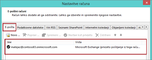 Vrsta računa v Outlooku