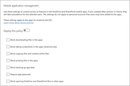 Upravljanje mobilnih aplikacijah OneDrive in SharePoint v skrbniškem središču za OneDrive