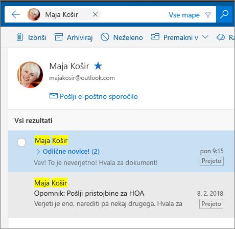 Poiščite osebo, da si ogledate vsa e-poštna sporočila.