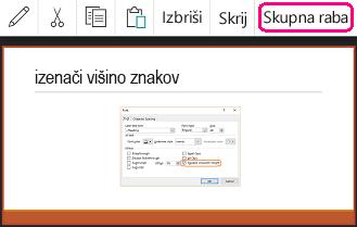 Ukaz »Skupna raba« v PowerPointu za Android