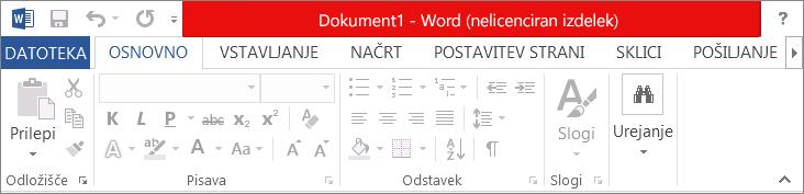 Prikazuje sporočilo »Izdelek ni licenciran« v rdeči naslovni vrstici, onemogočen vmesnik in pasico s sporočilom