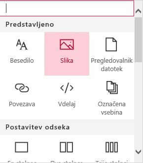 Posnetek zaslona z izbranim spletnim gradnikom Slika v SharePointu.
