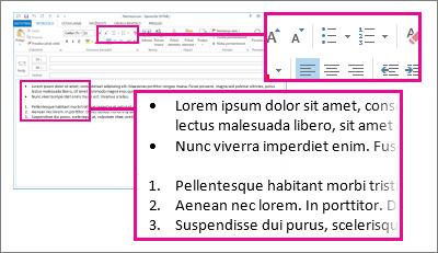 Primeri oštevilčenih ali označenih seznamov v sporočilu