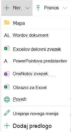 Če želite ustvariti novo datoteko v knjižnici dokumentov, odprite meni Novo in izberite vrsto datoteke, ki jo želite.