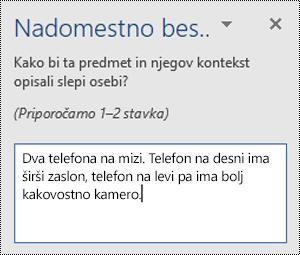 Nadomestno podokno z besedilom s primerom nadomestnega besedila v Wordu za Windows.