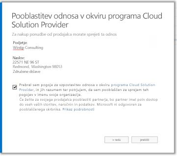 Sprejmite odnos v okviru programa Cloud Solution Provider.