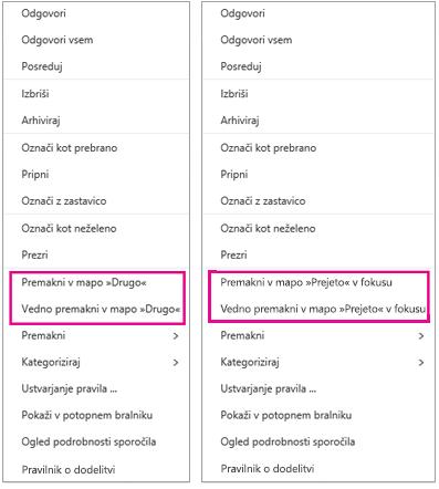 Možnosti za premik v mapo »V fokusu« in »Drugo« v Outlooku v spletu