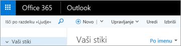 Videz traku, če uporabljate Outlook v spletu.