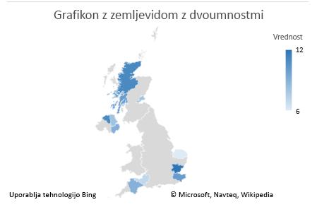 Excelov grafikon z zemljevidom – grafikon z nedvoumnimi podatki