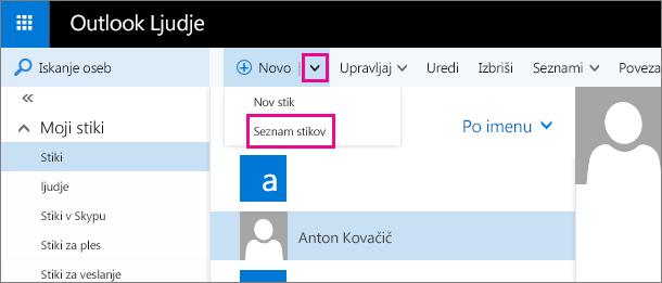 Posnetek zaslona dela orodne vrstice na strani »Ljudje« v Outlooku Na posnetku zaslona je v spustnem meniju »Novo« prikazana možnost »Seznam novih stikov«