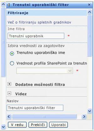 Podokno z orodji za spletni gradnik trenutnega uporabniškega filtra.