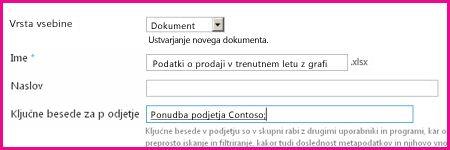 Uporabniki lahko dodajo ključne besede v pogovorno okno lastnosti dokumenta