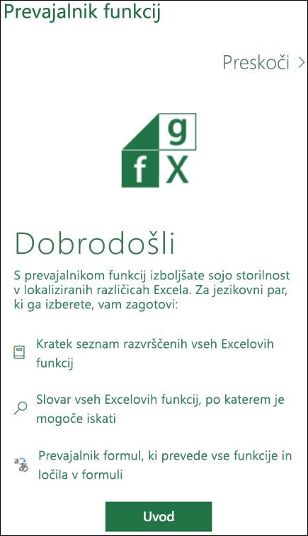 Podokno s pozdravnim sporočilom prevajalnika Excelovih funkcij