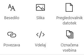 Posnetek zaslona menija spletnega gradnika v SharePointu.