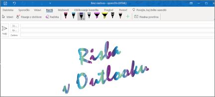 E-poštno sporočilo z risbo v Outlooku, ki je napisana v bleščečem rokopisu