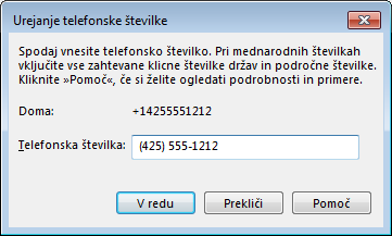 Primer telefonske številke v Lyncu, ki prikazuje mednarodno obliko telefonskih številk