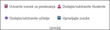 Posnetek zaslona možnosti za upravljanje delovni zvezek programa OneNote