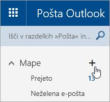 Posnetek zaslona z gumbom »Ustvari novo mapo« na spletnem mestu Outlook.com.