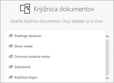 Izberite knjižnico dokumentov, če želite premakniti na stran