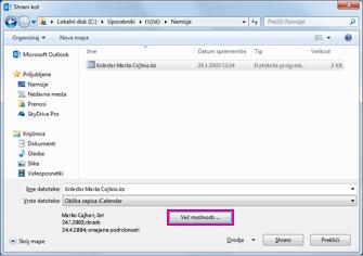 Pogovorno okno možnosti »Shrani kot« Outlookovega koledarja