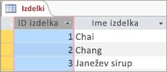 Izrezek zaslona tabelo izdelki