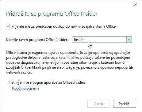 Pogovorno okno »Pridružite se programu Office Insider« z izbrano ravnjo »Insider«