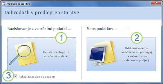 Zagon iz predloge za spletno zbirko podatkov storitev