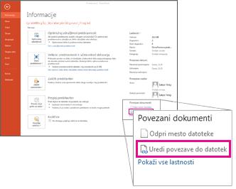 Urejanje povezav do datotek