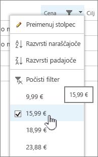 Kliknite glavo stolpca in izberite vrednost, po kateri želite filtrirati.