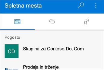 Posnetek zaslona z razdelkom pogosto obiskanih spletnih mest
