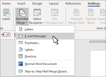 Začetek spajanja dokumentov z izbranimi e-poštnimi sporočili