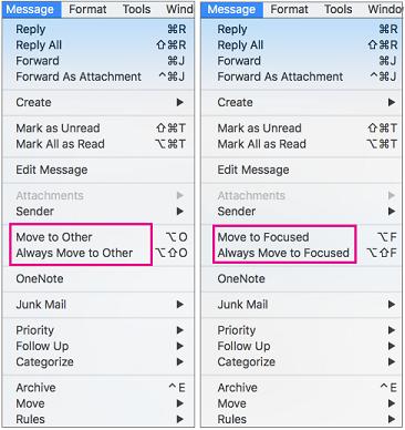 V meniju za premik v mapo »V fokusu« sta na voljo dve možnosti: premakni v mapo »V fokusu« in vedno premakni v mapo »V fokusu«