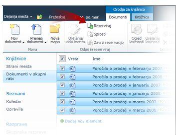 Rezerviranje več dokumentov