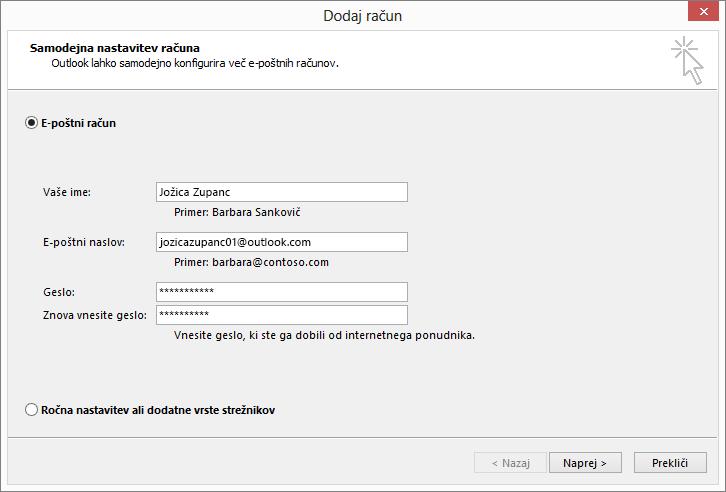 S funkcijo za samodejno nastavitev računa dodajte e-poštni račun kot del novo ustvarjenega profila za Outlook
